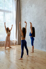 The Coach Woman Is The Mother Of Dancer Dancer Does At Home Dancing With Your Girls. Mother And Daughter Ballerinas