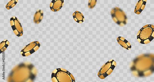 Falling golden with black poker chips, tokens on transparent background Fotobehang