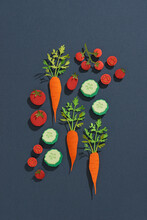 Fruits And Vegetables. Paper Art Object Style
