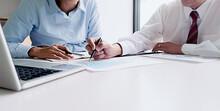 Intern Receives Feedback Achievements At Work Concept.