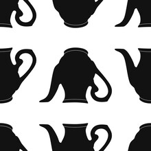 Vector Graphic Seamless Pattern With Black Vase