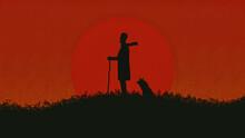 Herdsman And His Dog At Sunset