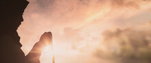 Silhouette Young Muslim Woman Hijab Honesty Pray To God On Sunset Panoramic Mosque Background Concept For Eid Mubarak, Life And Spiritual Of Islam Girl Fasting In Ramadan, Indonesian Civilian People
