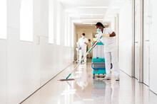 Cleaning Worker Disinfecting Hospital