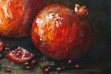 Oil Painting Red Pomegranates. Ripe Pomegranates On A Black Background. Still Life, Contemporary Art.