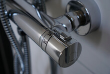 Shower Faucet With Thermostat In Close-up