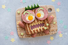 Halloween Monster Sandwich With Slice Meat Ham, Eggs And Cheese