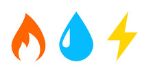 Gas Water Electricity Icon. Clipart Image Isolated On White Background