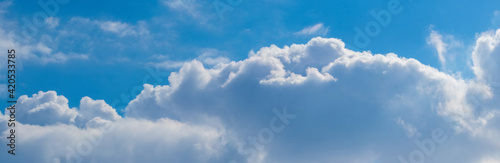 Fototapeta White curly clouds on a background of blue sky, panorama obraz