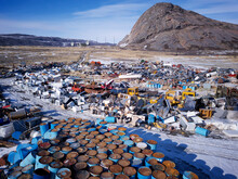Greenland Waste Dump For Fossil Fuels, Oil Barrels, Trash And Rubbish Disposal