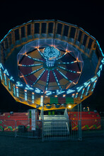 Wheels And Rides, Amusement Park At Night
