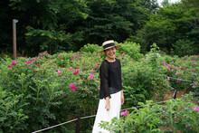 Beautiful Asian Women's Journey In Japan In A Park Full Of Flowers