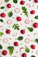Raw Vegetable Background On White