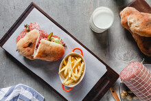 Ciabatta Sandwich And Fries.