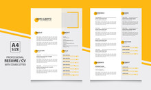 John Alberto Two Page Yellow Color Resume Format Cv Template Simple And Clean Design
