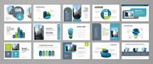 Business Presentation Infographic Template Set. Keynote Presentation Background, Slide Templates, Website Ideas, Brochure Cover Design, Landing Page, Annual Report Brochure. Vector Illustration