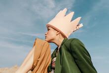 Creative Fashion Portrait Of Teen Outdoors