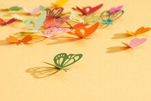 Abstract Paper Cut Out Butterfly Background.