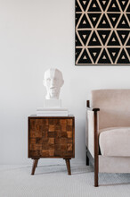 Interior Of Living Room With Gypsum Statue