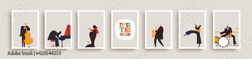 Fotografia Jazz music band people retro poster collection