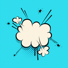 Comics Speech Bubble For Text Pop Art Design. White Empty Dialog Cloud For Text Message, Tag, Advertise. Comics Sketch Puff Explosion Elements Comic Book Text. Wow Effect Vector Cartoon Illustration