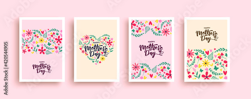Photo Happy mother's day pink flower heart card set