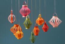 Mid Autumn Lantern Festival Background With Paper Lanterns