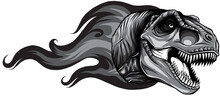 Monochromatic Dinosaurus Tyrannosaurus Rex Head Art Vector Illustration Design