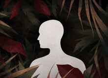 Portrait Of A Glowing Man Among Tropical Leaves. Unity Of Human And Nature