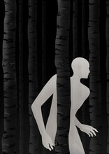 Glowing Man Sneaking Among The Trees. Black And White Illustration