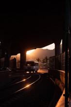 Sunset Light Casting Railway Under The Bridge