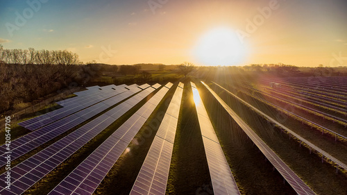 Fototapeta The early morning sun reflects off the panels of a solar farm in Suffolk, UK