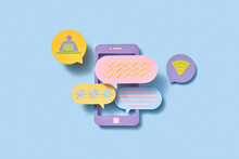 Papercraft Phone With Communication Cloud Icons.