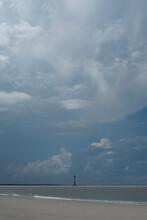 Morris Island Lighthouse During Summer Storm.