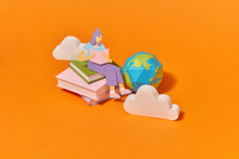 Papercraft Girl Is Reading Book From Clouds Storage.