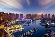 Beautiful Aerial View Of Pearl Qatar. Roundabout Pearl Qatar At Sunset Time.