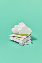 Handcraft Paper Books Library With White Clouds.