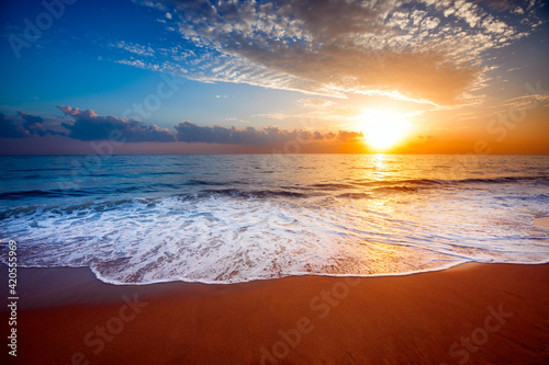 Fototapety, obrazy: Beautiful sunset sea and tropical beach