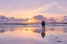 Hombre Vestido De Espaldas En Una Playa Cerca Del Mar Mirando La Puesta De Sol Con Colores Pastel En Invierno. Precioso Paisaje Con El Horizonte Atravesado Por Una Persona Que Está Mirando El Atardece
