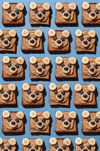 Cute Bear Face Toasts With Peanut Butter, Banana And Blueberries