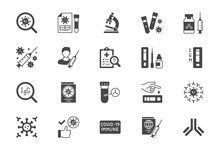 Coronavirus Test Flat Icons. Vector Illustration Include Glyph Icon - Vaccine Clinical Trial, Antibody, Rapid Kid, Blood Sample Silhouette Pictogram For Covid19 Diagnostic