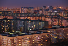 Rows Of Apartment Buildings In St. Petersburg, Russia Photographed At Dusk.