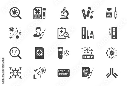 Photo Coronavirus test flat icons