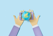 Papercraft World Planet In The Phone In The Hands