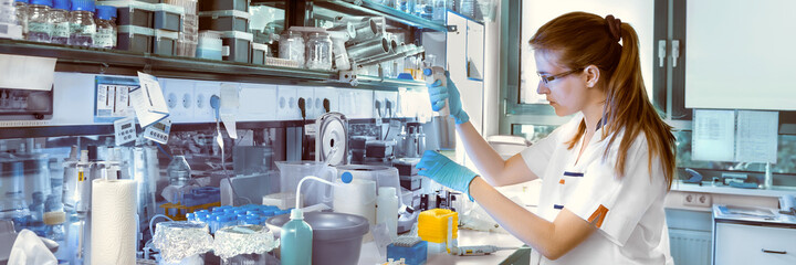 Young scientist works in modern laboratory