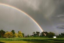 Swedish Landscape With Double Rainbow