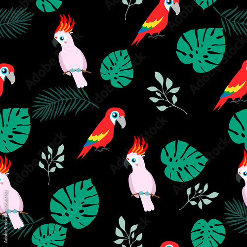 Fotografija Tropical seamless pattern, funny birds, palm leafs vector illustration