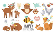 Vector Boho Baby Animals With Parents. Funny Woodland Animal Scenes Showing Family Love. Cute Mothers Day Design Elements Collection. Mother And Child Clipart For Card, Print, Poster.