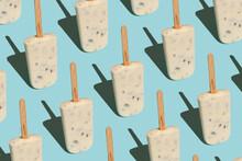 Vanilla Ice Pops On Blue Pastel Background