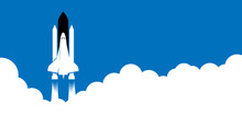 Vector Illustration Of The Launch Of Space Shuttle. Banner With Copy Space.